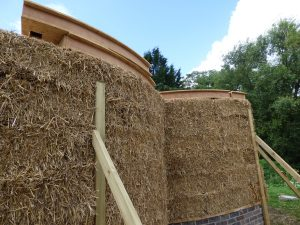 Constructing the reciprocal frame roof for the straw bale chapel